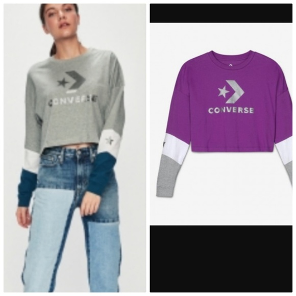 Converse Tops - CONVERSE  WOMEN'S CROPPED LONG SLEEVE PURPLE SMALL